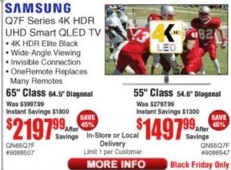 "Frys Black Friday: 65"" Samsung QN65Q7F 4K HDR UHD Smart QLED TV for $2,197.99"