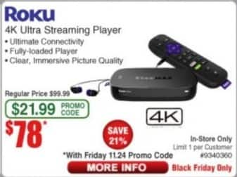 Frys Black Friday: Roku 4K Ultra Streaming Player for $78.00