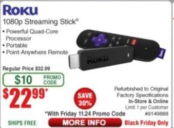 Frys Black Friday: Roku 1080p Streaming Stick - Refurbished for $22.99