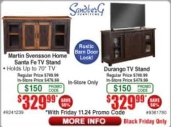 Frys Black Friday: Martin Svensson Home Santa Fe TV Stand or Durango TV Stand for $329.99