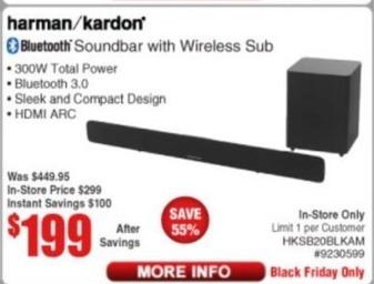 Frys Black Friday: Harman Kardon Bluetooth Soundbar with Wireless Sub for $199.00