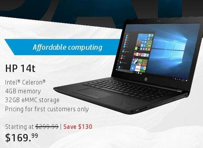 HP Black Friday: HP 14t Laptop: Intel Celeron, 4GB, 32GB eMMc for $169.99