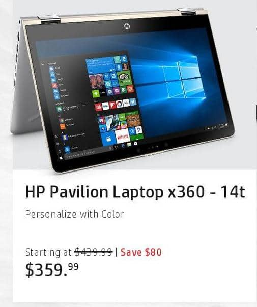 HP Black Friday: HP Pavilion Laptop x360-14t for $359.99