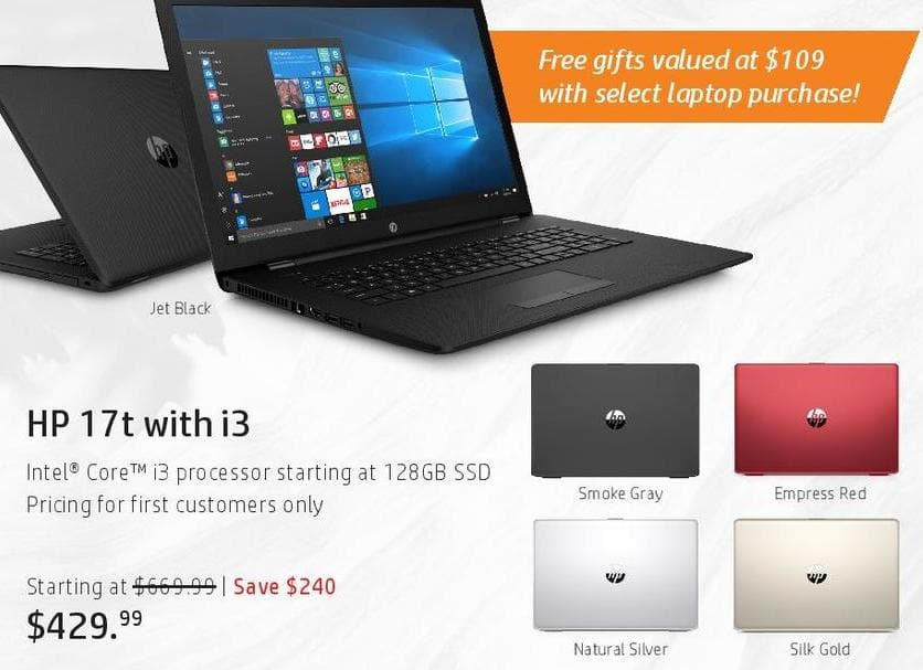 HP Black Friday: HP 17t Laptop: i3, 128GB SSD for $429.99