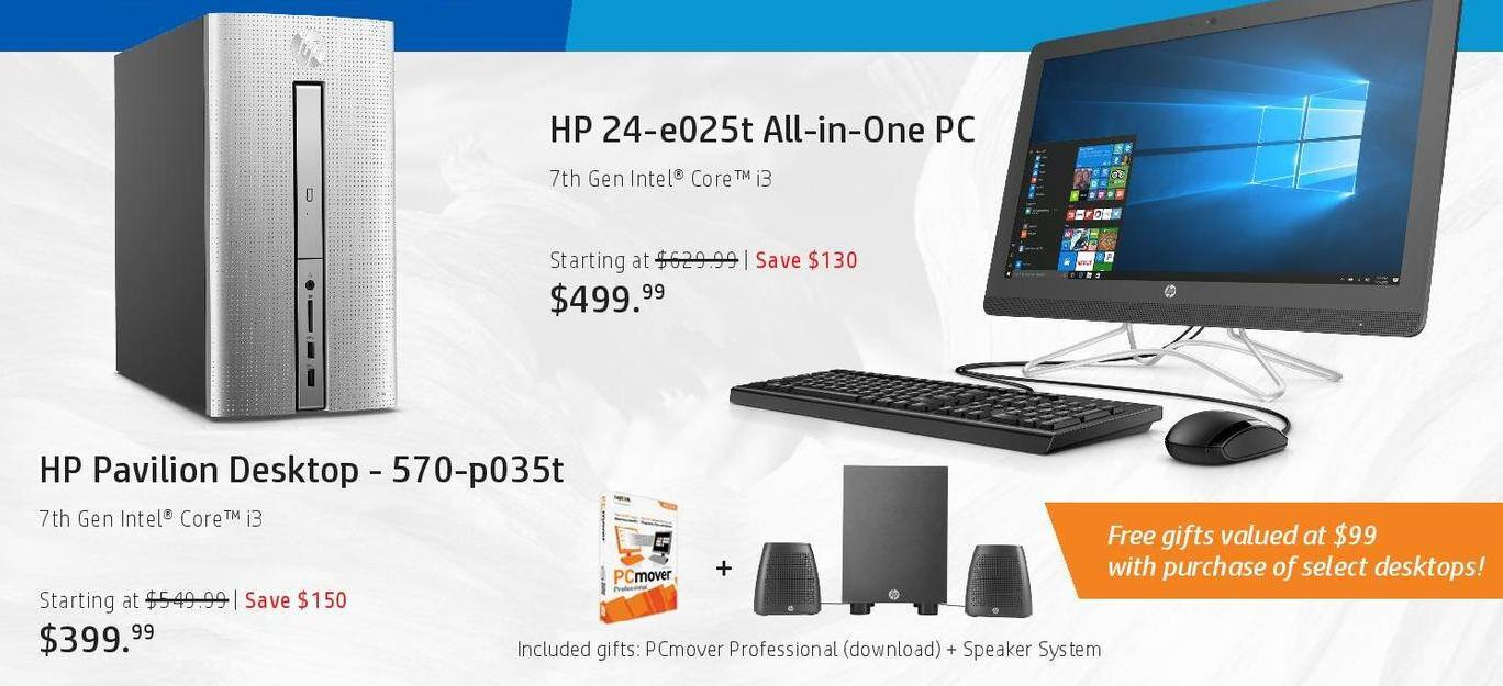 HP Black Friday: HP 24-e025t All-in-One PC: i3 (7th Gen) for $499.99