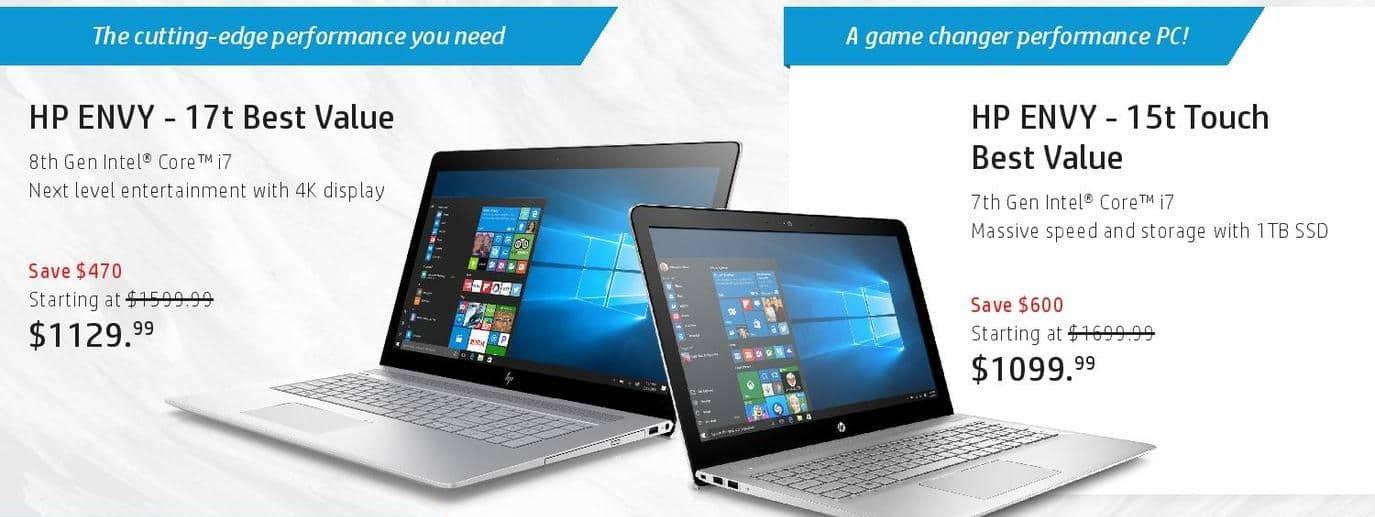 HP Black Friday: HP Envy 15t Touch Laptop: i7 (7th Gen), 1TB SSD for $1,099.99