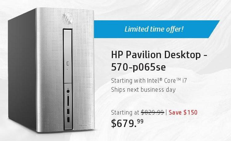 HP Black Friday: HP Pavilion 570-p065se Desktop: i7 for $679.99