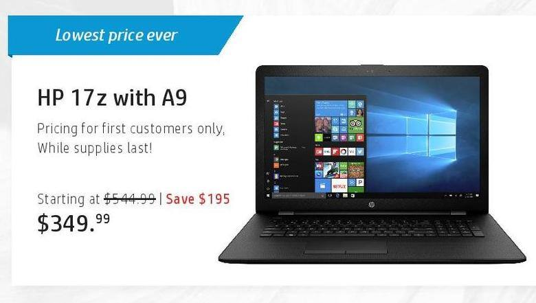 HP Black Friday: HP 17z with A9 Laptop for $349.99