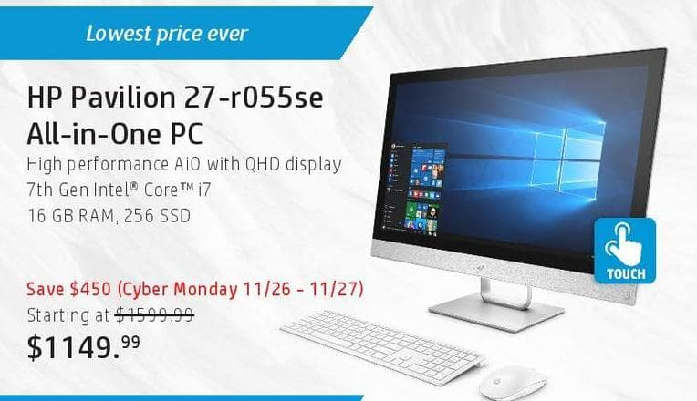 HP Black Friday: HP Pavilion 27-r055se All-in-One PC: i7 (7th Gen), 16GB, 256 SSD for $1,149.99