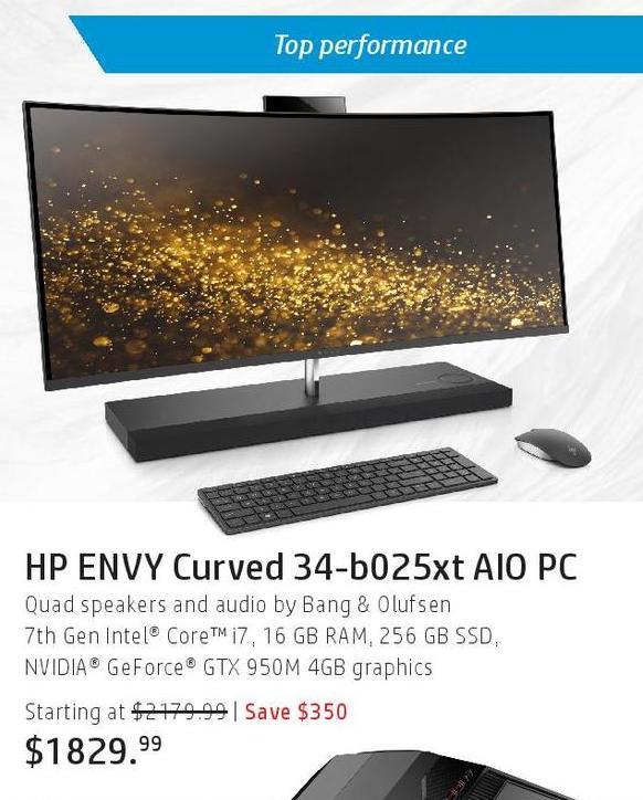 HP Black Friday: HP Envy Curved 34-b025xt AIO PC: i7 (7th Gen), 16GB, 256GB SSD for $1,829.99