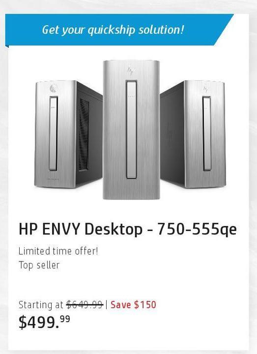 HP Black Friday: HP Envy 750-555qe Desktop for $499.99