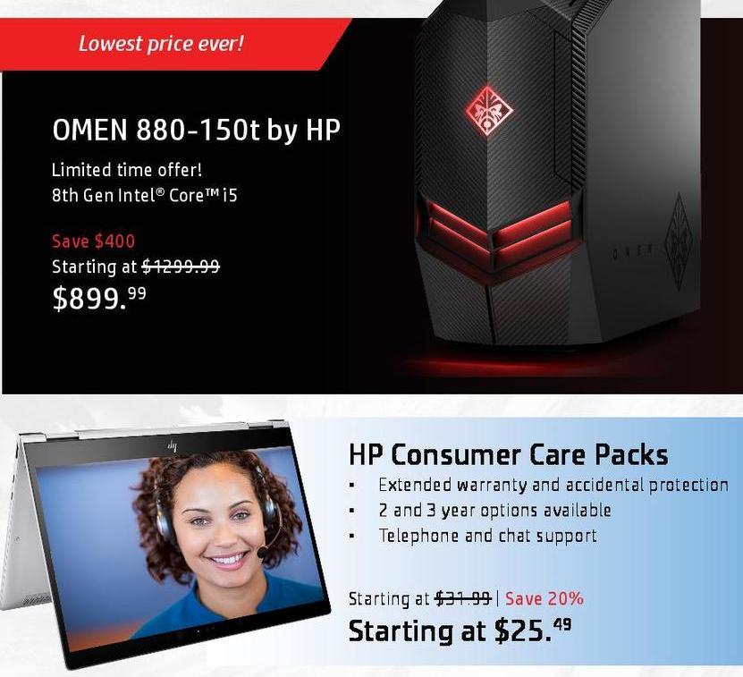 HP Black Friday: HP Omen 880-150t Desktop: i5 (8th Gen) for $899.99