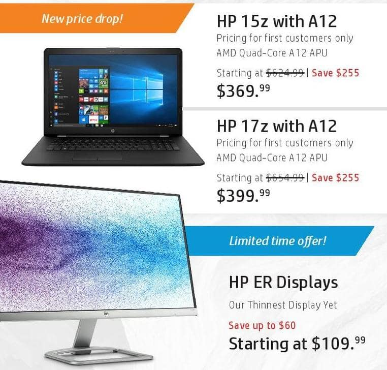 HP Black Friday: HP 15z Laptop: AMD A12 APU for $369.99