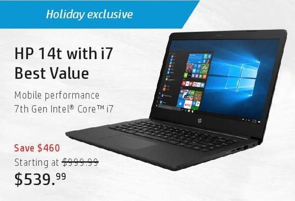 HP Black Friday: HP 14t Laptop: i7 (7th Gen) for $539.99