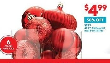 At Home Black Friday: 40-ct. Shatterproof Boxed Ornaments for $4.99