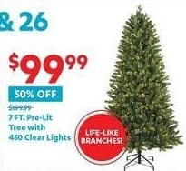 At Home Black Friday: 7-ft. Pre-Lit Tree with 450 Clear Lights for $99.99