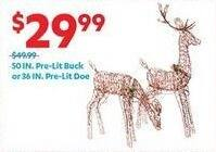 At Home Black Friday: 50-in. Pre-Lit Buck or 36-in Pre-Lit Doe for $29.99