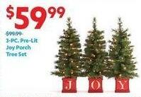 At Home Black Friday: 3-pc. Pre-Lit Joy Porch Tree Set for $59.99