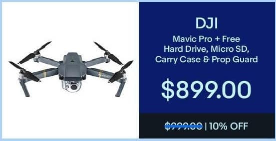 eBay Black Friday: DJI Mavic Pro + Free Hard Drive, Micro SD, Carry Case and Prop Guard for $899.00