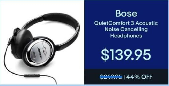 eBay Black Friday: Bose QuietComfort 3 Acoustic Noise Cancelling Headphones for $139.95