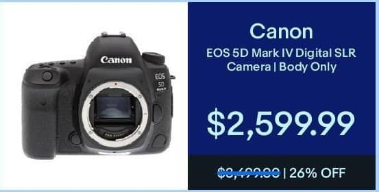 eBay Black Friday: Canon EOS 5D Mark IV Digital SLR Camera (Body Only) for $2,599.99