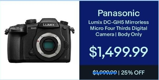 eBay Black Friday: Panasonic Lumix DC-GH5 Mirrorless Micro Four Thirds Digital Camera (Body Only) for $1,499.99