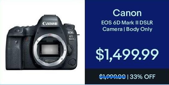 eBay Black Friday: Canon EOS 6D Mark II DSLR Camera (Body Only) for $1,499.99