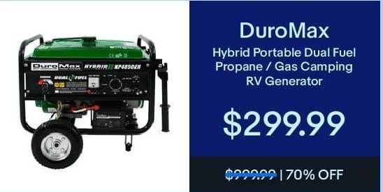 eBay Black Friday: DuroMax Hybrid Portable Dual Fuel Propane/Gas Camping RV Generator for $299.99