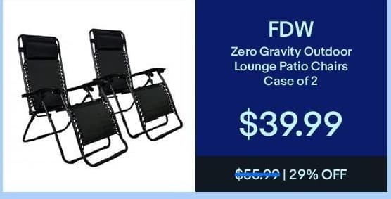 eBay Black Friday: FDW Zero Gravity Outdoor Lounge Patio Chairs (Case of 2) for $39.99