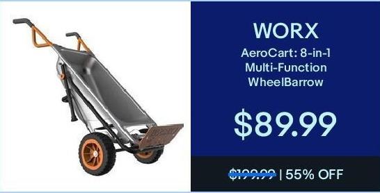 eBay Black Friday: Worx AeroCart 8-in-1 Multi-Function WheelBarrow for $89.99