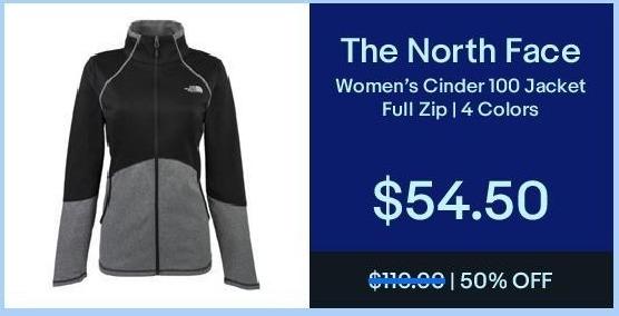 eBay Black Friday: The North Face Women's Cinder 100 Jacket Full-Zip for $54.50