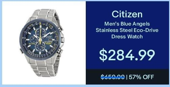 eBay Black Friday: Citizen Men's Blue Angels Stainless Steel Eco-Drive Dress Watch for $284.99