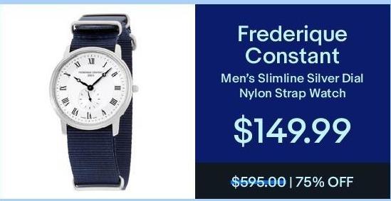 eBay Black Friday: Frederique Constant Men's Slimline Silver Dial Nylon Strap Watch for $149.99