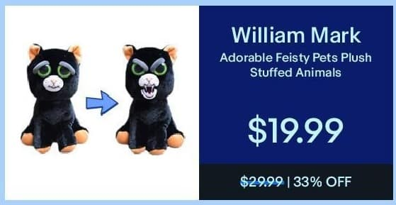 eBay Black Friday: William Mark Adorable Feisty Pets Plush Stuffed Animals for $19.99