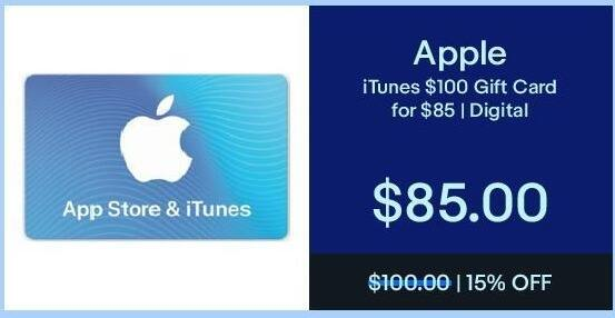 eBay Black Friday: iTunes $100 Gift Card for $85.00