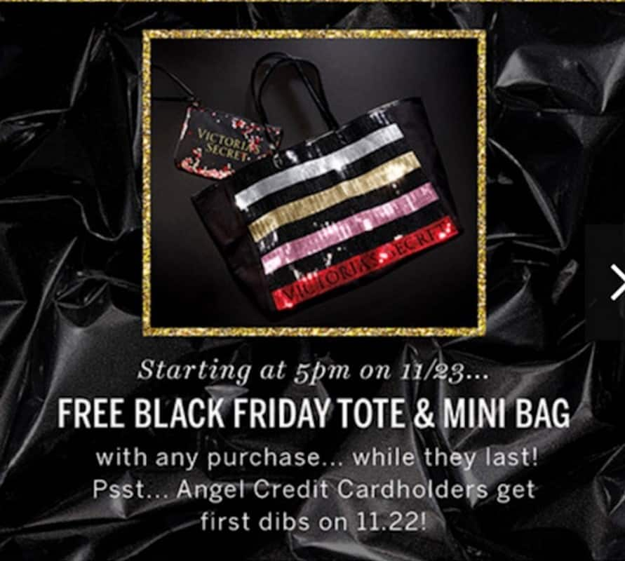 Victoria's Secret Black Friday: Tote and Mini Bag with Any Purchase for Free