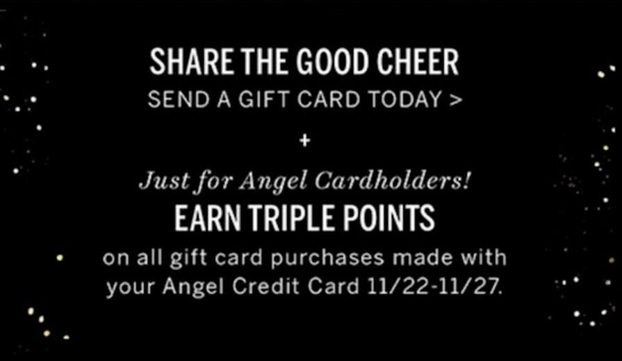 Victoria's Secret Black Friday: Earn Triple Points on All Gift Card Purchases w/Angel Credit Card for Free