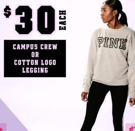 Victoria's Secret Black Friday: Campus Crew or Cotton Logo Legging for $30.00