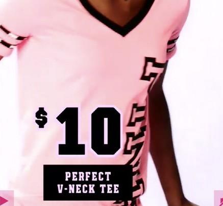 Victoria's Secret Black Friday: Perfect V-Neck Tee for $10.00