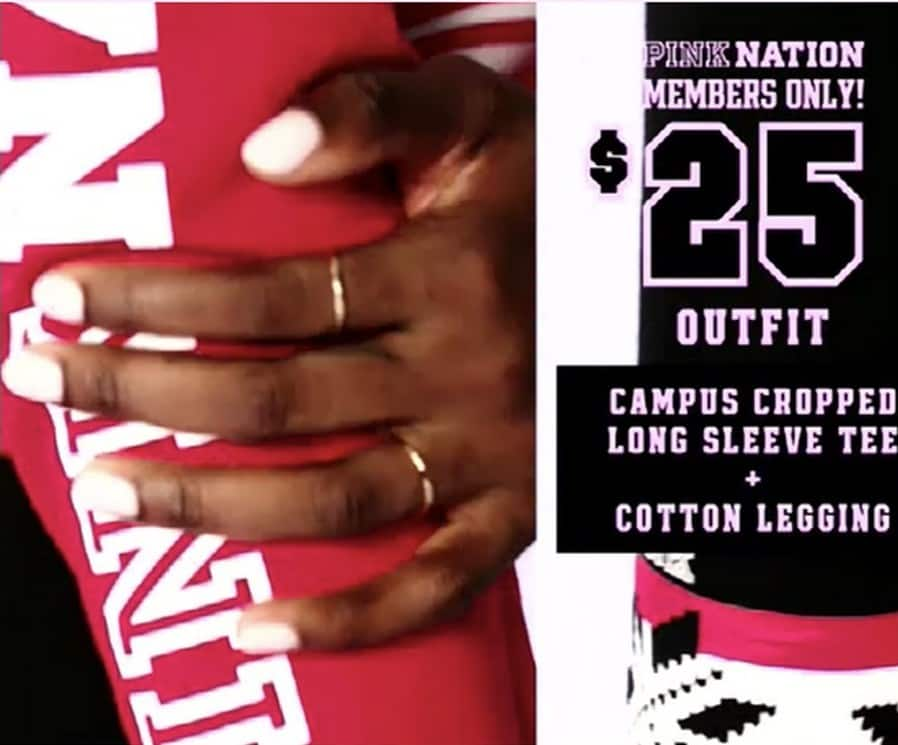 Victoria's Secret Black Friday: Campus Cropped Long Sleeve Tee and Cotton Legging w/Pink Nation Membership for $25.00