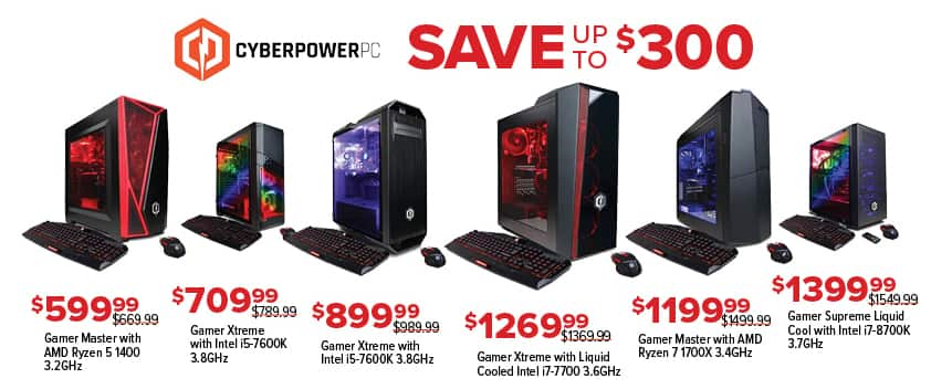 GameStop Black Friday: Cyberpower PC Gamer Master: AMD Ryzen 5 1400 for $599.99