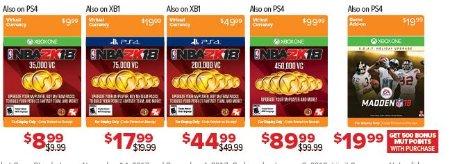 GameStop Black Friday: NBA 2K18 Virtual Currency: 35,000 - 450,000 for $8.99 - $89.99