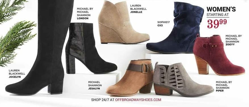off broadway shoes Black Friday: Select Women's Boots: Lauren Blackwell, Michael Shannon, Sophie17 and More - From $39.99