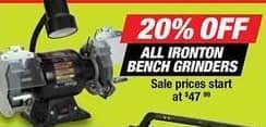 Northern Tool and Equipment Black Friday: All Ironton Bench Grinders - 20% Off