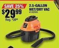 Northern Tool and Equipment Black Friday: 2.5-Gallon Wet/Dry Vac for $29.99