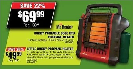 Northern Tool and Equipment Black Friday: Mr. Heater Buddy Portable 9000 BTU Propane Heater for $69.99