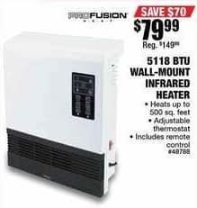 Northern Tool and Equipment Black Friday: 5118 BTU Wall-Mount Infrared Heater for $79.99