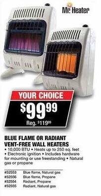 Northern Tool and Equipment Black Friday: Mr. Heater Blue Flame or Radiant Vent-Free Wall Heaters for $99.99
