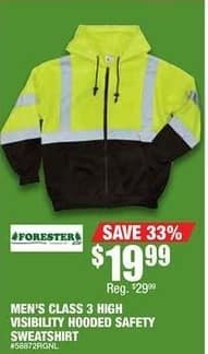 Northern Tool and Equipment Black Friday: Forester Men's Class 3 High Visibility Hooded Safety Sweatshirt for $19.99