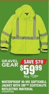 Northern Tool and Equipment Black Friday: Gravel Gear Waterproof Hi-Vis Softshell Jacket with 3M Scotchlite Reflective Material for $59.99
